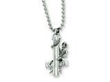Chisel Stainless Steel Skeleton Hugging Cross Pendant Necklace - 22 inches