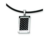 Chisel Stainless Steel Silver and Black color Carbon Fiber Pendant - 18 inches