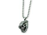 Chisel Stainless Steel Skull with Diamond Necklace - 24 inches