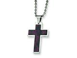 Chisel Stainless Steel and Stingray Patterned Cross Necklace - 24 inches