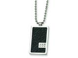 Chisel Stainless Steel and Stingray Patterned with Diamond Necklace - 24 inches