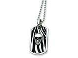 Chisel Stainless Steel Enameled Skull Dog Tag Necklace - 24 inches
