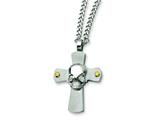 Chisel Stainless Steel Skull on Cross Necklace - 24 inches