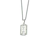 Chisel Stainless Steel and Diamond Razor Blade Necklace - 24 inches