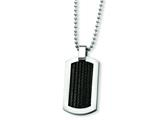 Chisel Stainless Steel Black Cable Dog Tag Necklace - 24 inches