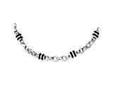Chisel Stainless Steel and Rubber Accent Barrel Link Necklace - 22 inches