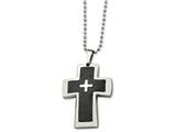 Chisel Stainless Steel Polished and Carbon Fiber Cross 22in Necklace style: SRN45322