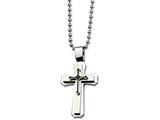 Chisel Stainless Steel Black Ip-plated Cross Necklace style: SRN45824