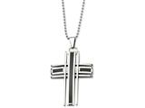 Chisel Stainless Steel Polished and Carbon Fiber Cross Necklace style: SRN46924