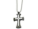 Chisel Stainless Steel Polished and Black Ip-plated Cross Necklace style: SRN47422