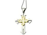 Chisel Stainless Steel Gold Ip-plated Cross Pendant 22in Necklace style: SRN48122