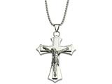 Chisel Stainless Steel Polished Crucifix Pendant 22in Necklace style: SRN49422