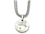 Chisel Stainless Steel Polished and Mother Of Pearl Circle W/ Cz 22in Necklace style: SRN54122