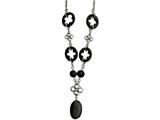 """Chisel Stainless Steel Black Agate and Flowers 22"""" W/ 2"""" Ext. Necklace style: SRN55522"""