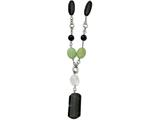 Chisel Stainless Steel Prehnite and Black Agate 26in W/1.5in Ext Necklace style: SRN56926