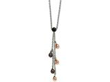 Chisel Stainless Steel Rose and Brown Ip Plated Teardrops 20in Y Necklace style: SRN58020