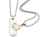 Chisel Stainless Steel Polished and Pink Ip-plated Necklace Set style: SRN59522