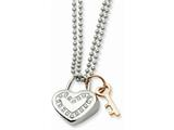Chisel Stainless Steel Heart With Czs and Pink Ip-plated Key Necklace style: SRN59622