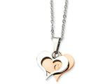 Chisel Stainless Steel Polished and Rose Ip-plated Heart Necklace style: SRN59722
