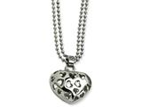 Chisel Stainless Steel Puffed Heart W/ Heart Cutouts 22in Necklace style: SRN60022