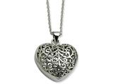 Chisel Stainless Steel Filigree Puffed Heart Pendant Necklace style: SRN60122