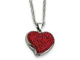 Chisel Stainless Steel Red Crystal Heart Pendant Necklace style: SRN60222