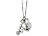 Chisel Stainless Steel Heart Lock and Key Withcz With 2inch Ext Necklace style: SRN60517