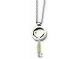 Chisel Stainless Steel Gold Ip-plated and Cz Key 22in Necklace style: SRN61722