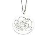 Chisel Stainless Steel Rose Cutout Pendant Necklace style: SRN64022