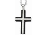 Chisel Stainless Steel Ip Black-plated Laser Cut Cross Necklace style: SRN72924