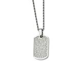 Chisel Stainless Steel Fancy Cz Dog Tag Pendant Necklace style: SRN73624