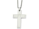 Chisel Stainless Steel Polished Cross W/czs Pendant Necklace style: SRN73724