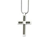 Chisel Stainless Steel Wire and Polished Cross Pendant Necklace style: SRN73924