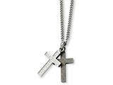 Chisel Stainless Steel Laser-cut and Cz Crosses Pendant Necklace style: SRN78620