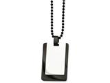 Chisel Stainless Steel Polished and Ip Black-plated Dog Tag  Necklace style: SRN79024