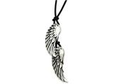 Chisel Stainless Steel Antiqued Wings On Black Leather Cord Necklace style: SRN79630