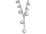 Chisel Stainless Steel Polished Hearts 18in Y Necklace style: SRN79718