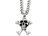 Chisel Stainless Steel Antiqued Skull and Crossbones Pendant 24in Necklace style: SRN80024