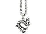 Chisel Stainless Steel Antiqued Dragon Pendant 22in Necklace style: SRN80122