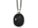 Chisel Stainless Steel Black Agate Pendant Necklace style: SRN81318
