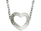 Chisel Stainless Steel Textured Heart 18in Necklace style: SRN82018