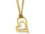 Chisel Stainless Steel Yellow Ip-plated Laser-cut Heart W/czs 20in Necklace style: SRN82320