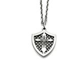 Chisel Stainless Steel Ip Black Plated Moveable Shield Pendant Necklace style: SRN83422