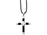 Chisel Stainless Steel Black Leather and Polished Black Ip-plated Cross  Necklace style: SRN83524
