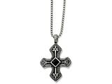 Chisel Stainless Steel Black Agate and Antiqued Cross Pendant Necklace style: SRN83724