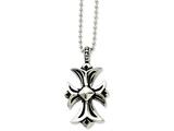 Chisel Stainless Steel Antiqued Fancy Cross Pendant Necklace style: SRN84122