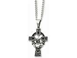Chisel Stainless Steel Antiqued Claddagh Pendant Necklace style: SRN84220