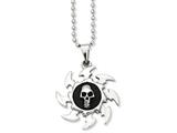 Chisel Stainless Steel Antiqued Saw Blade W/ Skull Pendant Necklace style: SRN85024