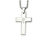 Chisel Stainless Steel Cross With Czs Pendant Necklace style: SRN86124
