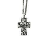 Chisel Stainless Steel Black Enamel Pebble Textured Cross Pendant Necklace style: SRN86822